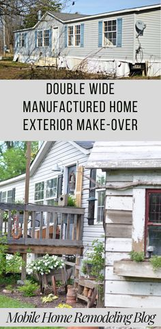Manufactured home remodel budget exterior makeover 32 ideas - All For Remodeling İdeas Mobile Home Porch, Mobile Home Exteriors, Mobile Home Renovations, Mobile Home Makeovers, Home Remodeling Diy, Remodeling Mobile Homes, Home Exterior Makeover, Exterior Remodel, Double Wide Remodel
