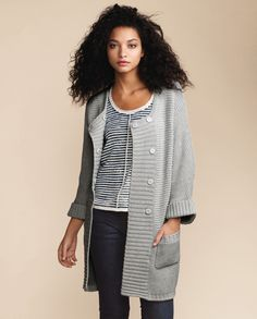 Poetry - Stitch Detail Long Cardigan - A wonderful transitional piece, this longer length cardigan is knitted with a distinctive, chunky reverse stitch.  Relaxed with generous dolman sleeves, the deep-ribbed placket covers the simple popper closures for a clean and un-fussy line.  100% Cotton
