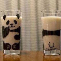 Panda milk glass