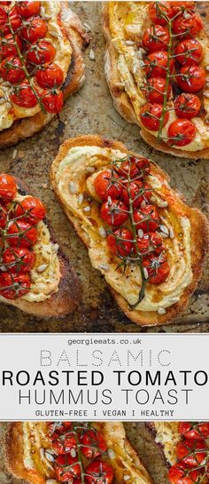 Crusty sourdough toast topped generously with silky hummus and jewels of sweet balsamic roasted tomatoes. The perfect breakfast, brunch or lunch! # Food and Drink lunch life Balsamic Roasted Tomatoes & Hummus Toast I Georgie Eats Vegan Foods, Vegan Dishes, Vegan Finger Foods, Clean Eating Snacks, Healthy Snacks, Healthy Appetizers, Healthy Brunch, Healthy Life, Breakfast Healthy