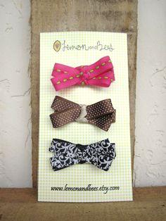 Small Ribbon Bow Hair Clips  Set of Three by LemonandBees on Etsy, $6.50