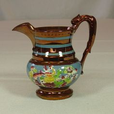 Copper Lustreware Pitcher, Staffordshire, 19th Century from treasuresfrommiiesa on Ruby Lane