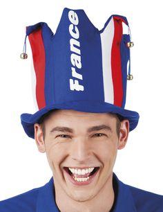 Chapeau avec grelot supporter France adulte : Ce chapeau de supporter pour adulte représente un chapeau de fou du roi. En mousse, il est recouvert de tissus fin aux couleurs du drapeau Français.Des grelots métalliques sont...