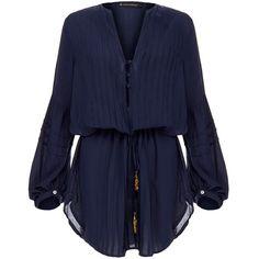 Vix Paris Indigo Blue Tunic (700 NOK) ❤ liked on Polyvore featuring tops, tunics, dresses, shirts, jumpsuits, blouses, blue, indigo shirt, blue v neck shirt and rayon tunic