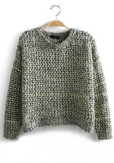Green Plain Hollow-out Short Loose Wool Pullover