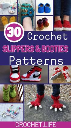 Crochet Slippers Booties are so much fun to make! Check out this great list of patterns! Crochet Baby Boots Pattern, Crochet Slipper Pattern, Crochet Baby Booties, Basic Crochet Stitches, Crochet Basics, Crochet Blanket Patterns, Diy Crochet Projects, Diy Projects, Knitted Slippers