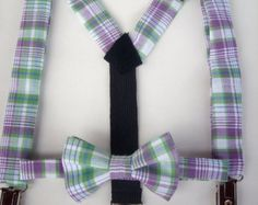 bow tie and suspenders for toddler boy - purple and green plaid Easter spring holiday