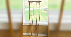 She Transformed Two Old Crutches Into A Unique And Gorgeous Shelf via LittleThings.com