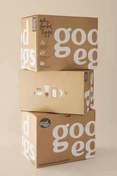 Projects for Good Eggs , the online farmers market in San Francisco: grocery packaging, seasonality poster, kids t-shirts, grocery tote & mural of the Good Eggs mission statement. Egg Packaging, Food Packaging Design, Packaging Design Inspiration, Brand Packaging, Branding Design, Kraft Box Packaging, Retail Packaging, Graphisches Design, Label Design