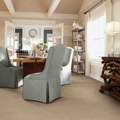 neutral tone dining area with dense nylon cut-and-loop pile from shaw floors, all about wall to wall carpeting