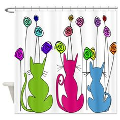 Whimsical Cats and Flowers Shower Curtain on CafePress.com http://www.cafepress.com/+whimsical_cats_and_flowers_duvet_shower_curtain,952607989