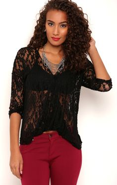 Deb Shops Lace Surplice Front Top with Three Quarter Sleeves