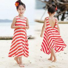 Fashion Girls Dresses Bohemian Baby Girls cotton beach