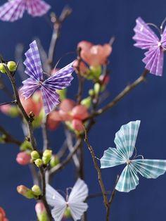 Zweige mit kleinen Knospen bringen den Frühling in unsere vier Wände. Das i-Tüpfelchen sind die kleinen angebrachten Schmetterlinge , die wir selbst gebastelt haben.