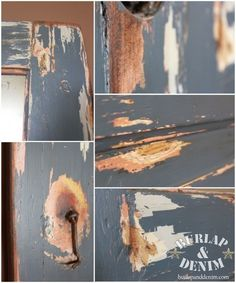 How to create an authentic distressed finish with vaseline - really neat! By Burlap and Denim