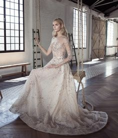 Lee Grebenau Giselle ball gown - a bride favorite! A princess silhouette wedding dress with high illusion neckline, beaded embroidered long sleeves, and long train. Available in blush and ivory. White Beach Wedding Dresses, Asian Bridal Dresses, Dream Wedding Dresses, Bridal Gowns, Wedding Lace, Gown Wedding, Luxury Wedding, Wedding Ring, Wedding Venues