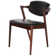 Kai Kristiansen Black Leather Dining Chairs, Set of Eight