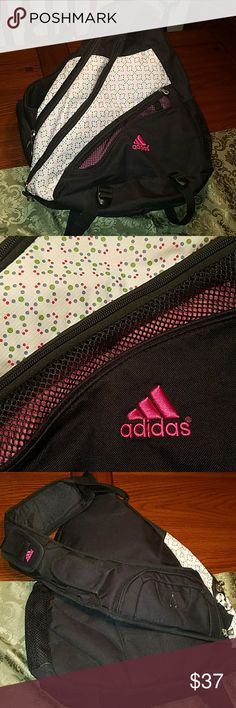 "Adidas Load Spring Sling Backpack Great backpack from Adidas, black nylon with contrasting polka dot pattern and hot pink embroidered logo. Triangle shape 20"" H x 19"" W at bottom end. Padded ""load spring"" sling for east one shoulder carry, 3 zippered compartments, various other mesh and slip pockets, Tech and phone pockets, padded sling adjustable with velcro closure, very well made. In excellent condition, one small area of ink stain on inside, tried to capture in pic 8. adidas Bags…"