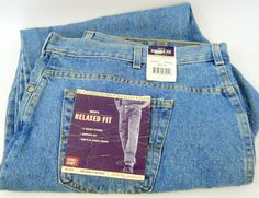 New Faded Glory Mens Blue Jeans 50 x 30 Denim 100% Cotton Relaxed Fit 5 Pockets #FadedGlory #Relaxed
