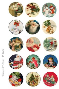 Vintage Christmas Bottle Cap Images - 4 x 6 Digital Collage Sheet - 1 inch Round Circles - INSTANT DOWNLOAD