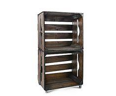 CAJAS Y CAJONES: Estantería modular formada por 2 cajas de madera DM – envejecido