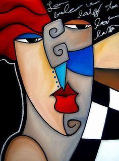 Cubist 127 3040 Original Cubist Art Poker Face, Thomas C. Fedro