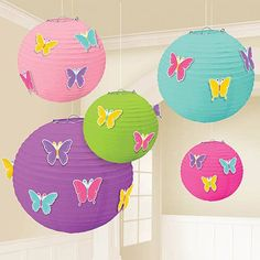Paper Lanterns with Add-Ons Kit Includes: One Purple Lantern, Two Pastel Pink & Blue Lantern, Two Lime & Hot Pink Lanterns & 24 Assorted Coloured Butterfly Clip Ons to Decorate the Lanterns. Tissue Paper Lanterns, Pink Lanterns, Purple Lantern, Butterfly Party Decorations, Hawaiian Party Decorations, Spring Decorations, Party Supply Store, Party Stores, Butterfly Cutout