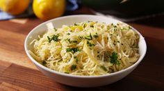 Cheesy Lemon Angel Hair is the fanciest comfort food we've ever had!