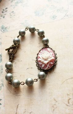 Pearl Bracelet Pink and Ivory Rose Smokey Aqua by apocketofposies