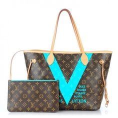This is an authentic LOUIS VUITTON Monogram V Neverfull MM in Turquoise. This stylish tote is crafted of classic Louis Vuitton monogram on toile canvas in the medium size.