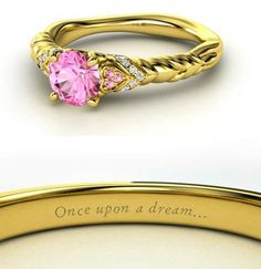 Disney engagement rings inspired by your favourite princesses Princess Aurora's STUNNING ring is nothing to be yawned at with a pretty pink sapphire set into golden twists – perhaps a homage to her lush hair? Disney Princess Engagement Rings, Princess Wedding Rings, Wedding Band, Dream Wedding, Bling Bling, Disney Inspired Rings, Sleeping Beauty Wedding, Disney Jewelry, Disney Princess Jewelry
