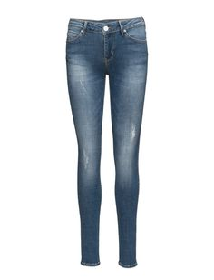 DAY - 2ND Sally Retro Distressed elements Fading Logo detail Slight stretch Classic 5 pocket styling Skinny fit Jeans Skinny Fit Jeans, Sally, Indigo, Pocket, Logo, Retro, Detail, Classic, Pants