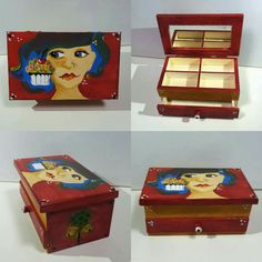 Wooden box divided mirror. Is painted entirely original model, not reproduce. The box is varnished for protection. 16x10x8cm