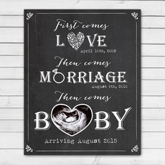 ba2900c2e Items op Etsy die op Pregnancy announcement card Chalkboard pregnancy  reveal card First comes Love then comes Marriage Baby photo ultrasound  PRINTABLE ...