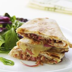 "Turkey and Balsamic Onion Quesadillas - and this is from ""Eating Well""!  Not too bad for you!"