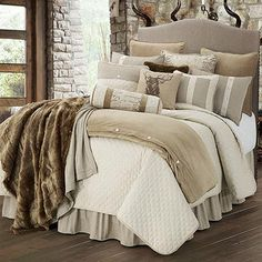 The Fairfield Lodge Bedding Set will add a luxurious mixture of simplistic contemporary design and rustic charm to your bedroom, from Indeed Decor. Cozy Bedroom, Dream Bedroom, Master Bedroom, Bedroom Decor, Bedroom Ideas, Bedroom Furniture, Master Bathrooms, Lodge Bedroom, Bedroom Designs
