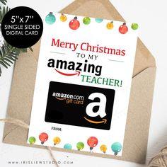 Christmas Card For Teacher, Amazon Christmas Gifts, Merry Christmas, Christmas Gift Card Holders, Christmas Candy, Holiday, Thank You Teacher Gifts, Teacher Cards, Teacher Appreciation Gifts
