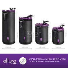Vivitar Premium Lens Case 6 Inch Waterproof Well Padded Zippered DSLR Camera Lens Case Protector Bag Set with Belt Loop Neck and Shoulder Strap