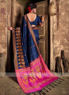Raw Silk Navy Blue Saree... Trendy Sarees, Fancy Sarees, Party Wear Sarees, Cheap Sarees, Sari Fabric, Fabric Art, Navy Blue Saree, Art Silk Sarees, Orange Blouse