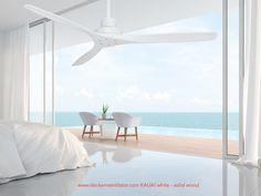 Wunderschöner Vam Deckenventilator weiß mit weißen Naturholzflügeln in 132 cm - Fernbedienung mit innovativer Temperaturautomatik Kauai, Wind Turbine, Remote, Timber Wood, Nice Asses, Kawaii