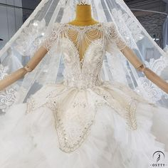 OSTTY - Lace Backless High Waist Cloud Long Trailing Wedding Dress OS2228 $1,299.99
