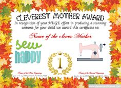 Cleverest Mother Award. #Free #certificate templates. You can add text, images, borders & backgrounds. Select images from our library or upload your own for a truly original certificate. clevercertificates.com #kids #parenting #mothersday #mothers #day #birthday