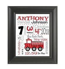 Firetruck Birth Stat Announcement only $7  Great gift for new moms, babys room, fireman dads
