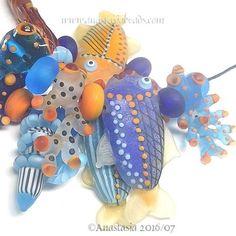 """ANASTASIA--handmade lampwork beads--(11)--""""TROPICAL""""--SRA #Lampwork"""