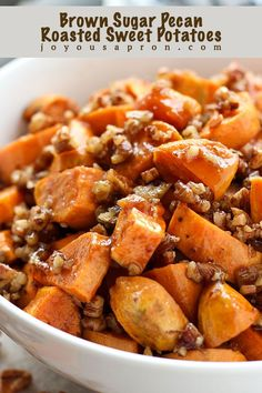 This Brown Sugar Pecan Roasted Sweet Potatoes recipe requires only FOUR ingredients. Simply delicious and super easy to make. This is perfect for the holidays, a busy day, or any day! Baked Sweet Potato Oven, Sweet Potato Side Dish, Sweet Potato Pecan, Roasted Sweet Potatoes, Perfect Baked Sweet Potato, Brown Sugar Sweet Potatoes, Potato Sides, Thanksgiving Side Dishes, Thanksgiving Recipes
