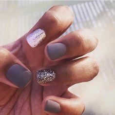 Nailie! #gel #gels #gelmani #gelpolish #gelnails #boise #boisenails #mani #nails #nailart #naildesign #mattenails #glitternails #graynails #nailie #clientsview