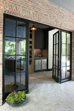 I love the doors especially for a kitchen/garden connection The Doors, Windows And Doors, Entry Doors, Porch Doors, Wood Doors, Front Doors, Front Entry, Metal Doors, Steel Windows