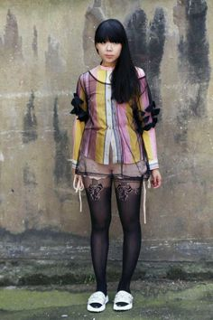 Susie Bubble (Worn with Chloe shirt, vintage sheer top, Tao knitted shorts, Christopher Kane sandals)