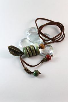 Handmade ceramic beads pendant necklace, statement necklace, brown leatherette chain, jewelry for her and nature lover.