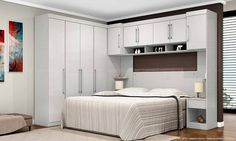 Quarto de Casal Modulado Completo 7 módulos Modena Branco Textil - Demóbile | Lojas KD
